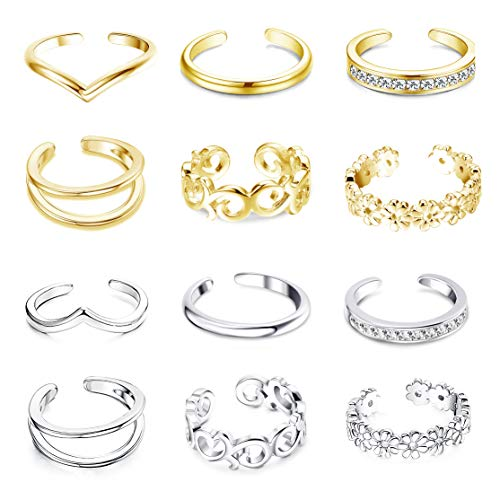 FUNRUN JEWELRY 12PCS Adjustable Toe Ring for Women Girls Daisy Flower CZ Tail Ring Band Hawaiian Jewelry