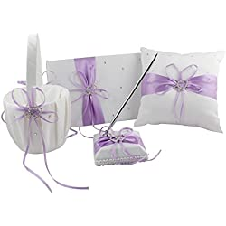 Light Purple Four Wedding Accesorries Sets High Quality Wedding Guest Book +Pen Set +Flower Girl Basket + Ring Pillow, Double Hearts Rhinestone Elegant Wedding Ceremony Party Favor Sets