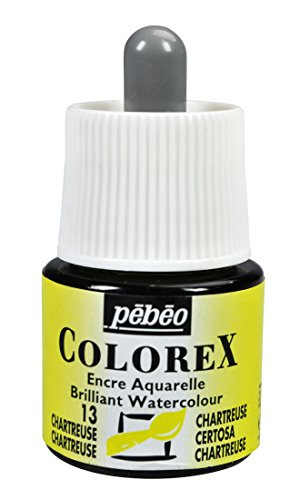 (Pebeo Colorex, Watercolor Ink, 45 ml Bottle with Dropper - Chartreuse)