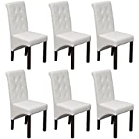 Festnight Set of 6 Scroll Back Upholstery Artificial Leather Dining Chairs with Wooden Frame, White