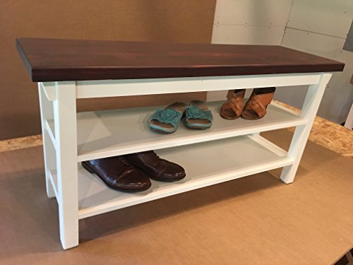 Hallway Mud Room Foyer Bench 32 Inch Increased 16 Inch Width with Two Shoe Shelves
