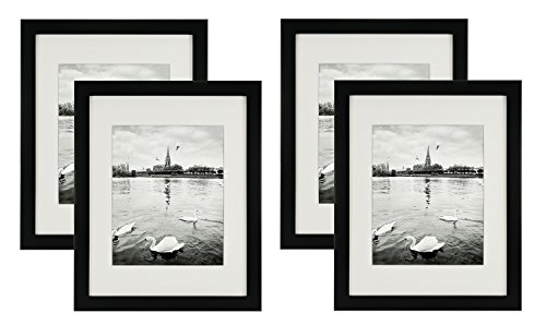 Golden State Art, Set of 4, 11x14 Black Photo Wood Frame with REAL GLASS and White Mat for 8x10 Picture (4)