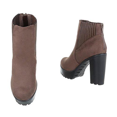 Ital-Design High Heel Stiefeletten Damenschuhe Schlupfstiefel Pump High Heels Reißverschluss Stiefeletten Hellbraun