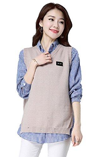政令依存避けられないレディース ベスト フェイクシャツ 重ね着風 セーター 通勤 オフィス カジュアル エレガント カレッジ OL セレブファッション