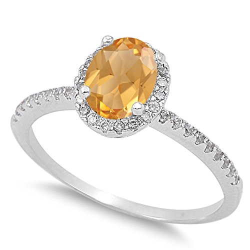 925 Sterling Silver Faceted Natural Genuine Yellow Citrine Oval Halo Ring Size 8 ()