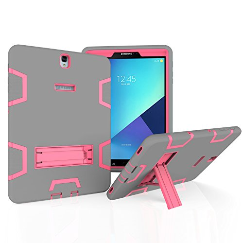 Samsung Galaxy Tab A 10.1 with S pen Case, Beimu 3in1 Combo Hybrid Heavy Armor Full-body Holster Rugged Defender Protective Kickstand Case for Samsung Tab A 10.1 with S Pen SM-P580/P585 (Grey+rose)