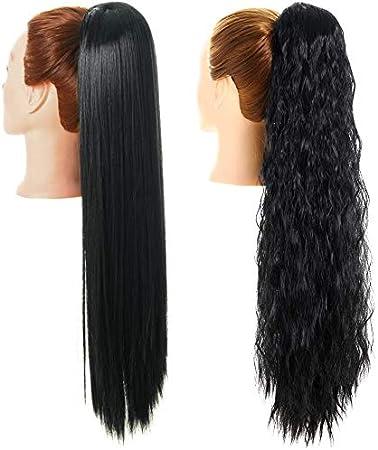 YMHPRIDE 2 piezas de 28 pulgadas de largo negro, recto y rizado, extensión de cabello de cola de caballo, envoltura alrededor de extensiones de cola de caballo, clip sintético en postizo para mujeres