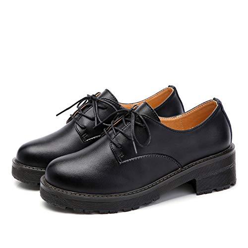 Printemps Chaussures Compensés Split Cuir Toe Oxford Noir Lacets À Jrenok Femme Talons Pompe Casual En Automne x4d1Xpqw