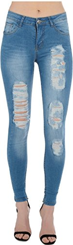 Real HOXTON - Jeans - Femme Multicoloured 34 Super Destroyed Mid Blue