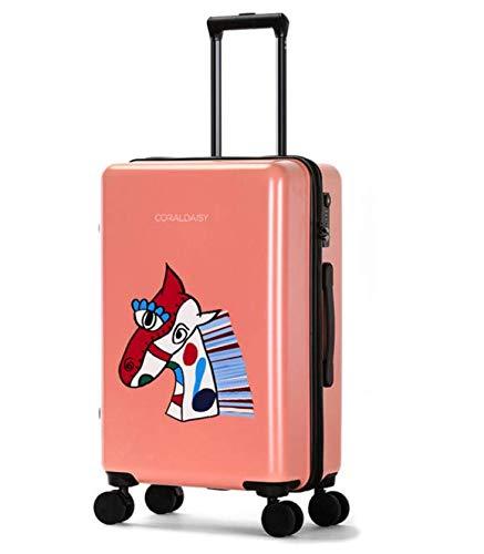 SfHx ファッショントロリーケースユニバーサルホイール漫画スーツケースかわいいプリントギフトスーツケース (Color : ピンク, Size : L) B07MSGH59W ピンク L