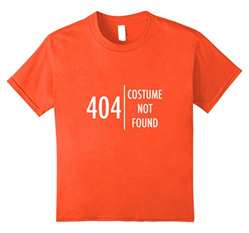 Kids Error 404 Costume not found Nerdy Halloween T-Shirt Funny 12 Orange