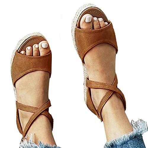 (Athlefit Womens Platform Sandals Flat Strap Espadrille Sandals Criss Cross Size 8.5 Brown)