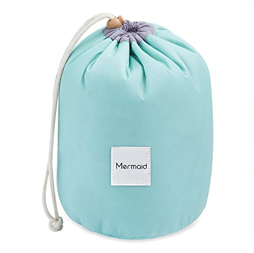 Price comparison product image Mermaid Travel Cosmetic Bag Makeup Bag Pouches Ladies Toiletry Bags Large Capacity Drawstring Cosmetic Storage Bag + Mini Pouch+ Clear PVC Brush Bag (Green)