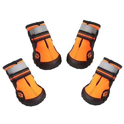 Asmpet Dog Boots Waterproof Shoes with Reflective Anti-Slip Sole Snow Boots Warm Paw,4pcs (Size 6 : 2.99