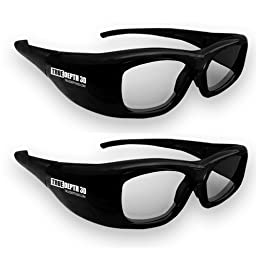 True Depth 3D Glasses for Sharp 3D TVs 2 Pairs (Supports Infrared and Bluetooth - Compatible with 2010, 2011, 2012, 2013 and Current Sharp 3D TVs)