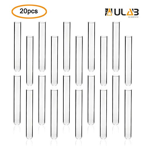 - ULAB Scientific Cylindrical Glass Test Tube, vol.20ml, 20x150mm, Medium 3.3 Borosilicate Glass Material, Pack of 20, UTT1006