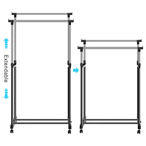 homdox foldable clothes drying rack double pole rail rod. Black Bedroom Furniture Sets. Home Design Ideas