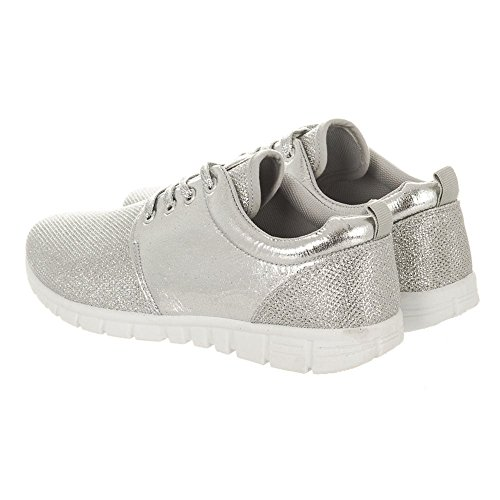 JENNA. Lace Up Glitter Trainers With White Soles SILVER GLIT LF0w4NbSX