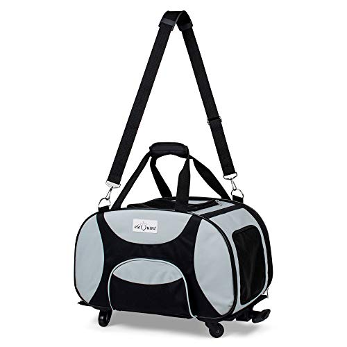eleQuint Soft Sided Travel Pet Carrier with Detachable Wheel Platform and Fleece Pet (Wheels Airline Approved Pet Carrier)