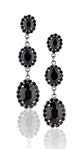 Triple Oval Earrings (Zoe & Ella Jet Black Rhinestone Triple Oval Fashion Earrings)