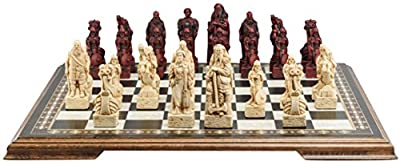 Viking Themed Chess Set - 4.5 Inches - In Presentation Box - Handmade in UK - Ivory and Burgundy