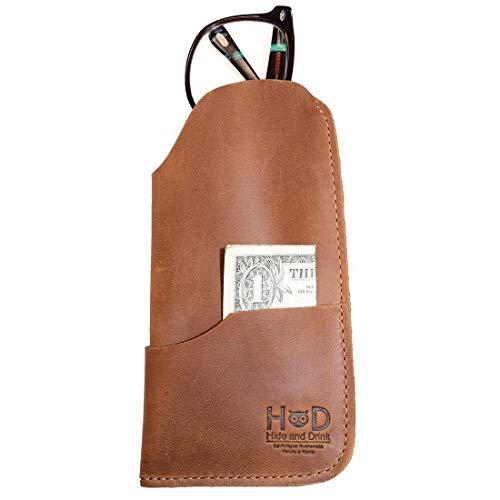 Hide & Drink Rustic Leather Sunglasses Case & Wallet Handmade Single Malt Mahogany (Frames Flesh Eyeglasses)
