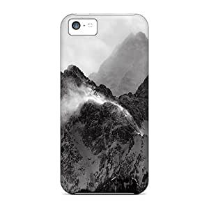 Flexible Tpu Back Case Cover For Iphone 5c - Monochrome Mountains