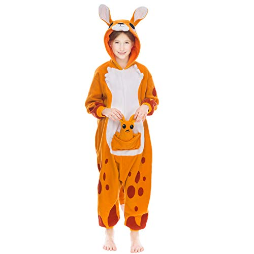 Spooktacular Creations Unisex Kids Pajamas Plush Onesie One Piece Kangaroo Animal Halloween Costume (4-6yr) -