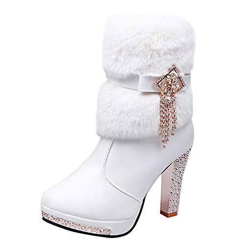 Nevera Women Plush Rhinestone Middle Tube Leather Martin Boots Zipper High Heels Shoes