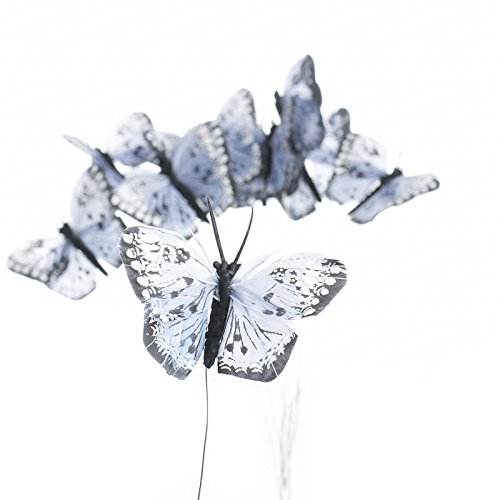 - Factory Direct Craft Group of 12 Artificial Colorful Light Blue Monarch Butterflies on Pick for Floral Embellishing, Crafting, and Creating