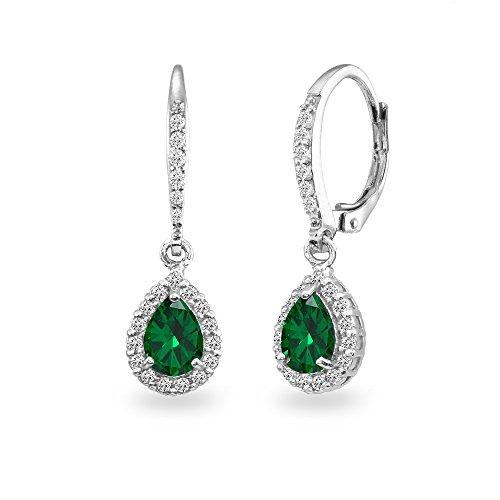 (Sterling Silver Simulated Emerald Teardrop Dangle Halo Leverback Earrings with White Topaz Accents)