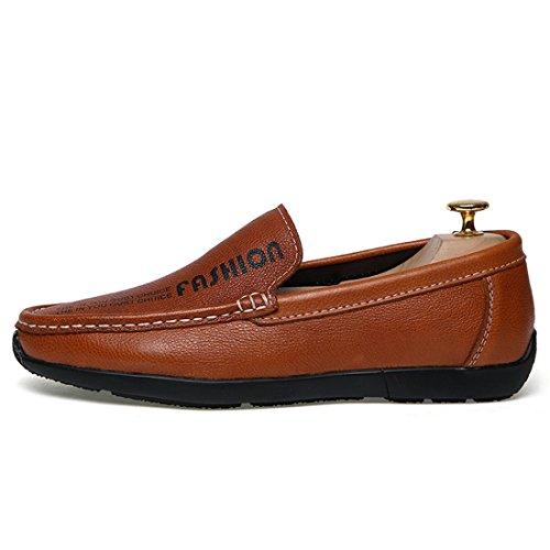 Tda Mens Slip-on Mode Läder Körning Vandrings Loafers Båt Sömmar Low Skor Brun