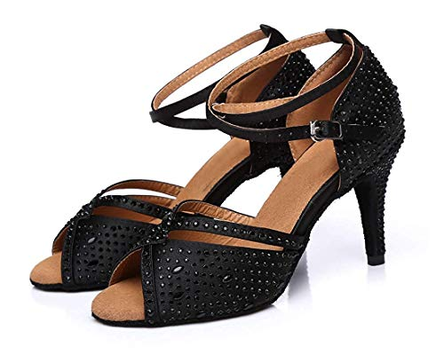 Reino Mujeres En Con Peep Cristales 5 Las Correa El Sandalias 6 Qiusa De Latino Salón Baile Tamaño Toe Unido Tango Negro Tobillo color fqT5w85nC