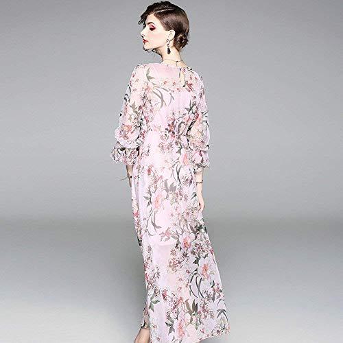 Dimensione Rosa Stampate Chiaro Rosa Lunghe Chiffon Femminile Gonne Estivi Oudan Abiti Colore Di Small colore E OwTqa147