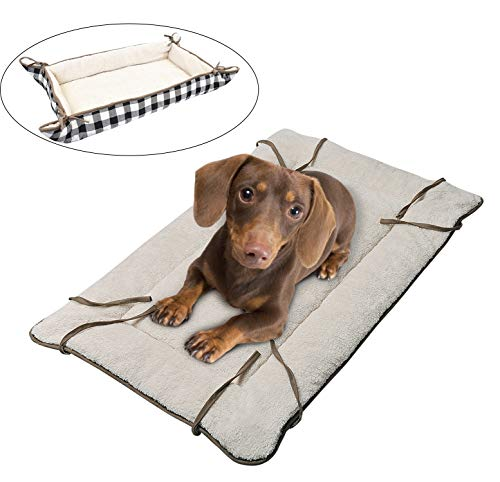 Dog Cuddler Bed,Washable Fluffy Crate Pad Mat Blanket,Soft Plush Thick Pet Sofa Kennel Cushion Liner for Small Medium Large Dogs Puppy Cats Grey ()