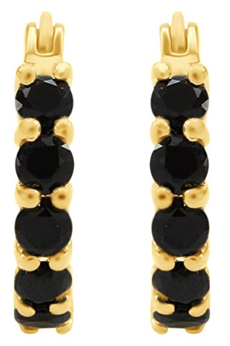 Gold Spinel Earrings - Round Cut Black Spinel Hoop Earrings In 14k Yellow Gold Over Sterling Silver
