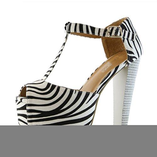 DailyShoes Women's Peep Toe Platform Sandal Pumps Open Toe Ankle Buckle T-Strap Extreme Evening Party Dress Casual Shoes, Zebra Suede, 10 B(M) US (Peep Toe Pumps Platform Suede)
