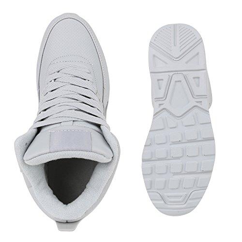 Stiefelparadies Unisex Baketballschuhe Damen Herren Sportschuhe Cultz Schuhe Muster Lack Sneakers Metallic Sneaker Flandell Hellgrau Carlton