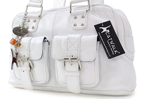 Collection Sac signé Blanc cuir main Caroline Catwalk à en OT4ZO1f