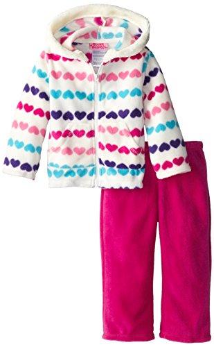 Young Hearts Little Girls' 2Piece Heart Polar Fleece Jacket Set, Purple, 5