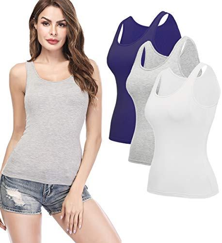 KIWI RATA Camisoles for Women with Built in Bra, Summer Sleeveless Shirt Casual, Padded Bra Women cami for Yoga, Wide Straps Tank Top 3 Pack Grey White Navy ()