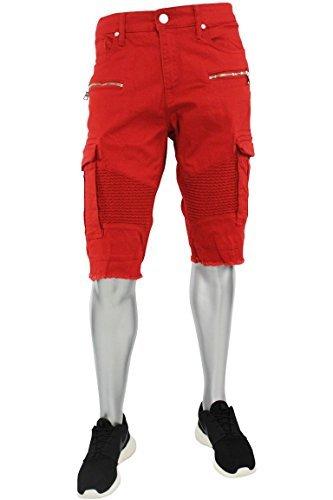 Jordan Craig Cargo Biker Denim Shorts Red (J673S) by Jordan Craig