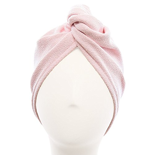 Aquis - Original Hair TURBAN, Patented Perfect Hands-Free Microfiber Hair Drying, Soft Pink (10 x 26 Inches) - Absorbent Hair Towel