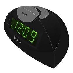 Sharp Green LED Alarm Clock, Black