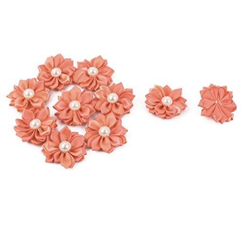 eDealMax sposa Perla imitazione Della decorazione DIY Appliques del Fiore del nastro Coral 40 x 40mm 10pcs rosa