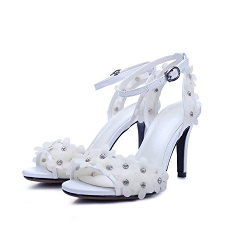 XX&GXM New Unique Comfort Unique New Gifts Women Sandals Dew-toe one word buckle Flowers Sweet white,36,white B074CXJN1N Shoes 300f66