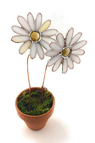 Daisy Stained Glass Flower Pot - Twin White Daisies - Gift