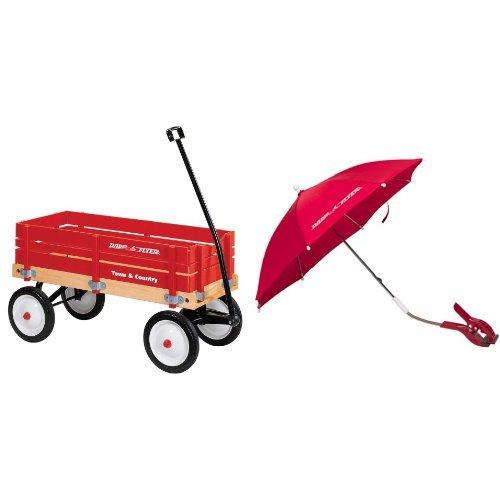 Radio Flyer Town and Country Wagon with Wagon Umbrella Bundle