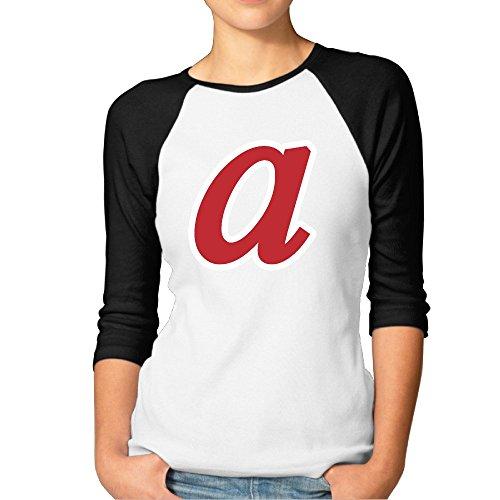 Womens Atlanta Team Retro Logo 3/4 Sleeve Cotton Raglan Baseball Tshirts