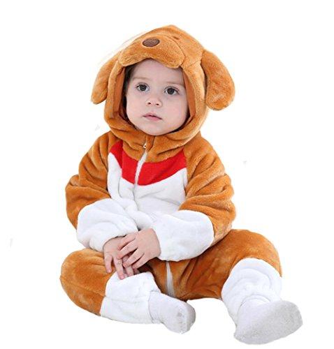 Tonwhar Baby Onesie Costume Animal Romper (70 Ages 3-6 Months, Coffee Dog) -